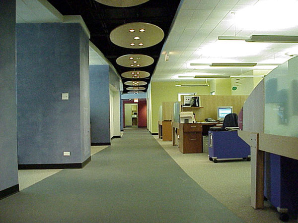 Dark Gray Matte Flexisurf resilient flooring offers a firm, quiet office floor covering.